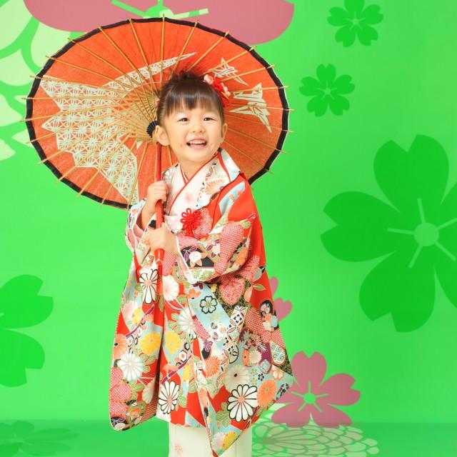 和傘を使って楽しく撮影