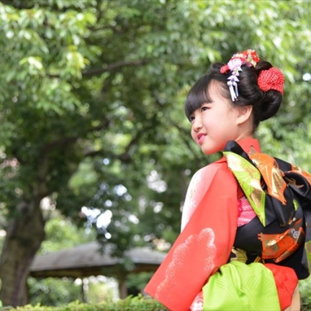 星渓園(日本庭園)の七五三