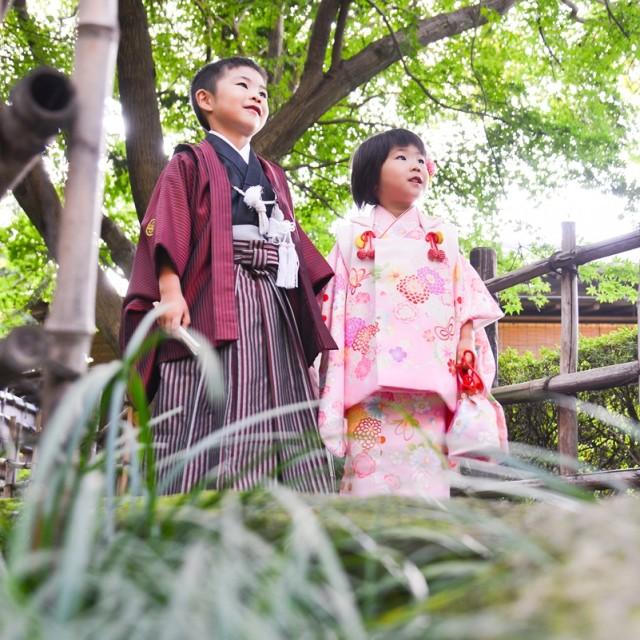 七五三3歳5歳日本庭園で写真撮影