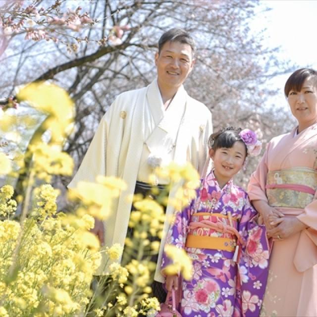 桜×七五三ファミリー