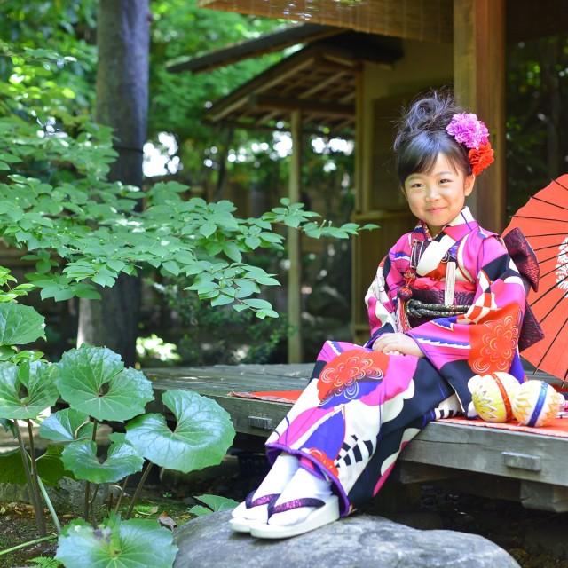 七五三7歳 日本庭園のお庭で写真撮影♪