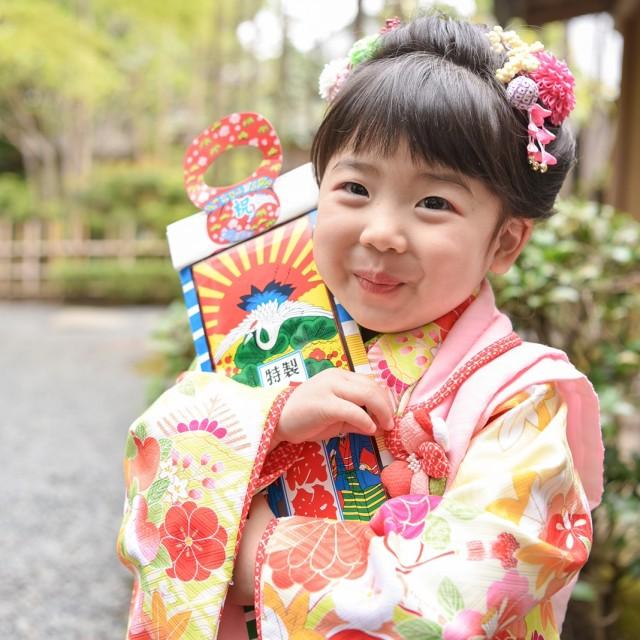 七五三3歳 和装着物 日本庭園でのロケーション撮影♪