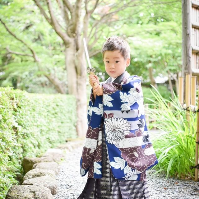 七五三5歳和装 着物 日本庭園ロケーション撮影でキメて♪