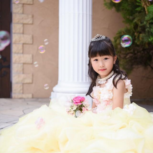 七五三7歳 洋装ドレスロケ シャボン玉で幻想的に写真撮影♪