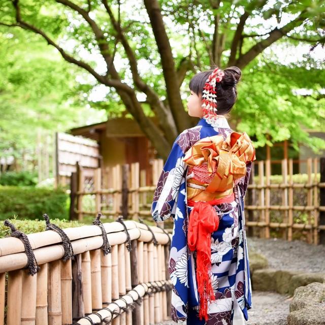 七五三7歳 日本庭園ロケーション撮影でバックショット!