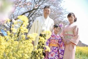 桜&七五三 7歳親子